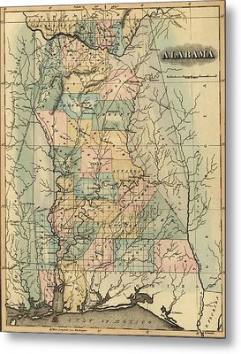 1826 Alabama Map Metal Print