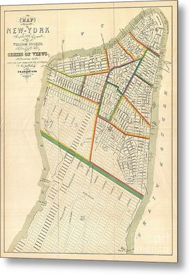 1831 Hooker Map Of New York City Metal Print by Paul Fearn