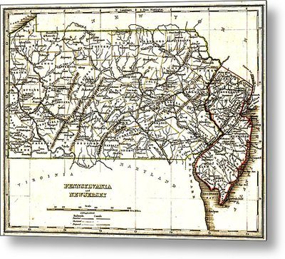 1835 Pennsylvania And New Jersey Map Metal Print by Bill Cannon