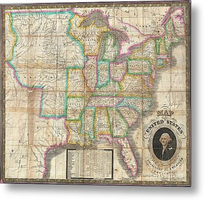 1835 Webster Map Of The United States Metal Print by Paul Fearn