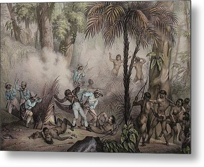 1836 Rugendas Brazil Indian Masacre Metal Print by Paul D Stewart