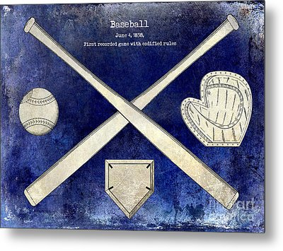 1838 Baseball Drawing 2 Tone Blue Metal Print