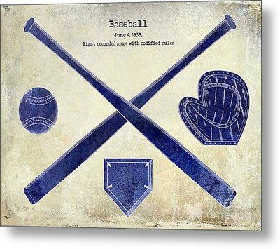 1838 Baseball Drawing 2 Tone Metal Print
