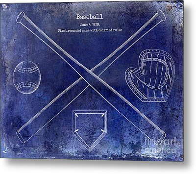 1838 Baseball Drawing Blue Metal Print