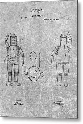 1838 Diving Armor Patent Charcoal Metal Print