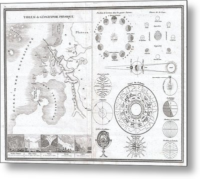 1838 Monin Map Or Physical Tableau And Astronomy Chart  Metal Print by Paul Fearn