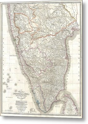 1838 Wyld Wall Map Of India Metal Print by Paul Fearn