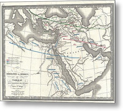 1839 Monin Map Of The Hebrew Peoples Dispersal After The Flood Metal Print by Paul Fearn