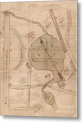 1840 Manuscript Map Of The Collect Pond And Five Points New York City Metal Print by Paul Fearn