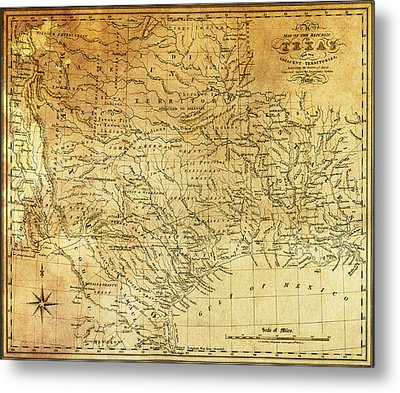 1841 Republic Of Texas Map Metal Print