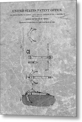 1842 Anchor Patent Charcoal Metal Print