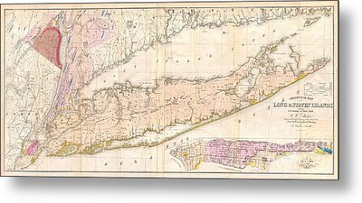 1842 Mather Map Of Long Island New York Metal Print by Paul Fearn