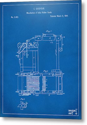 1844 Charles Goodyear India Rubber Goods Patent Blueprint Metal Print by Nikki Marie Smith