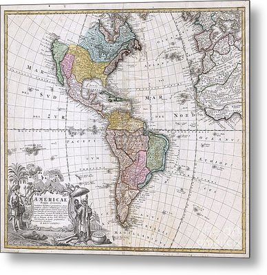 1846 Homann Heirs Map Of North America And South America  Metal Print