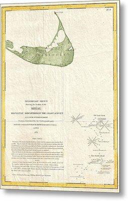 1846 Us Coast Survey Map Of Nantucket  Metal Print by Paul Fearn