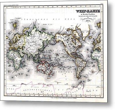 Metal Print featuring the photograph 1850 Antique World Map Welt Karte In Mercators Projektion by Karon Melillo DeVega