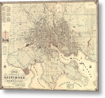 1851 Baltimore Maryland Map Metal Print by Dan Sproul