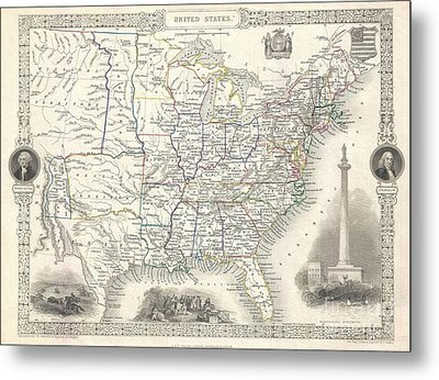 1851 Tallis And Rapkin Map Of The United States Metal Print by Paul Fearn