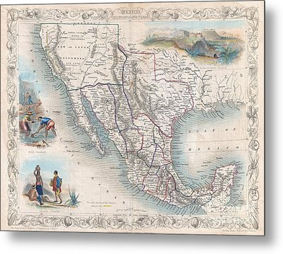 1851 Tallis Map Of Mexico Texas And California  Metal Print