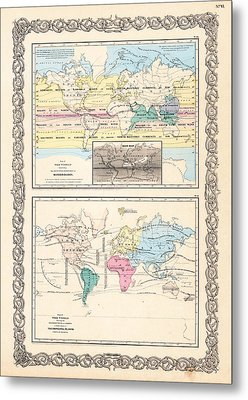 1855 Antique World Maps Illustrating Principal Features Of Meteorology Rain And Principal Plants Metal Print by Karon Melillo DeVega