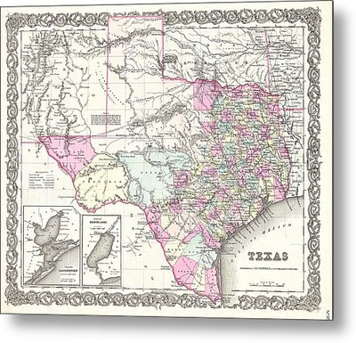 1855 Colton Map Of Texas Metal Print