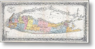 1857 Colton Travellers Map Of Long Island New York Metal Print