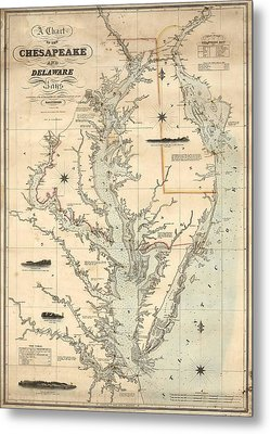 1862 Chesapeake Bay Map Metal Print