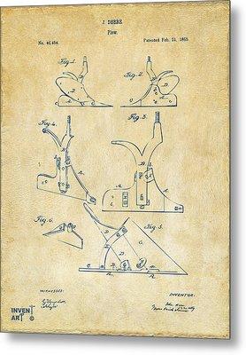 1865 John Deere Plow Patent Vintage Metal Print by Nikki Marie Smith