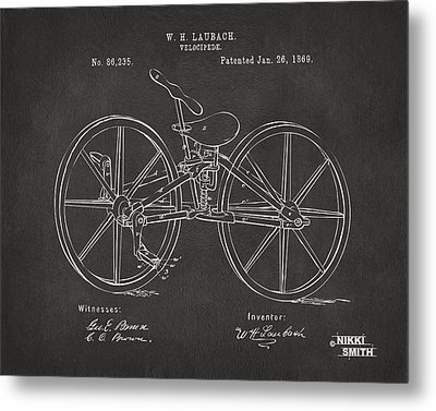 1869 Velocipede Bicycle Patent Artwork - Gray Metal Print by Nikki Marie Smith