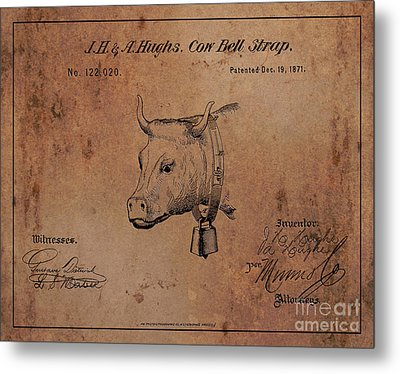 1871 Hughes Cow Bell Strap Patent Art 1 Metal Print by Nishanth Gopinathan