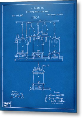 1873 Brewing Beer And Ale Patent Artwork - Blueprint Metal Print by Nikki Marie Smith