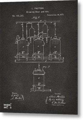 1873 Brewing Beer And Ale Patent Artwork - Gray Metal Print by Nikki Marie Smith