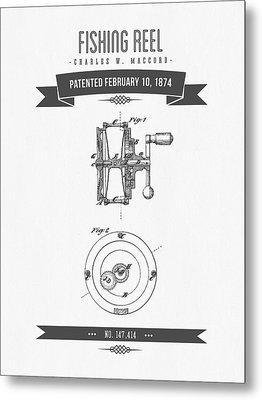1874 Fishing Reel Patent Drawing Metal Print by Aged Pixel