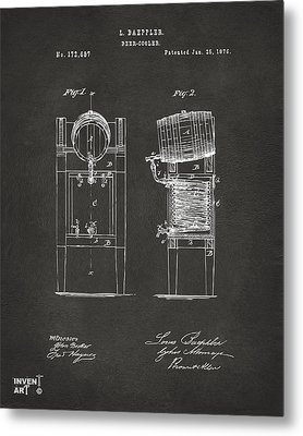 1876 Beer Keg Cooler Patent Artwork - Gray Metal Print