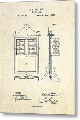 1878 Blackboard Patent Art Metal Print by Gary Bodnar
