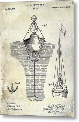1878 Buoy Patent Drawing Metal Print