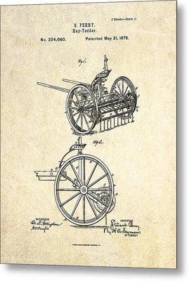1878 Hay Tedder Patent Art Metal Print by Gary Bodnar