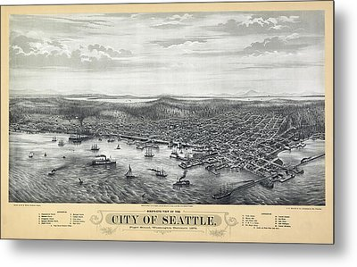 1878 Seattle Washington Map Metal Print by Daniel Hagerman