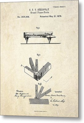 1878 Steinway Grand Piano Forte Patent Art S.2 Metal Print by Gary Bodnar