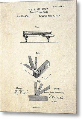 1878 Steinway Grand Piano Forte Patent Art S.2 Metal Print