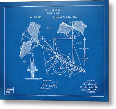 1879 Quinby Aerial Ship Patent - Blueprint Metal Print by Nikki Marie Smith