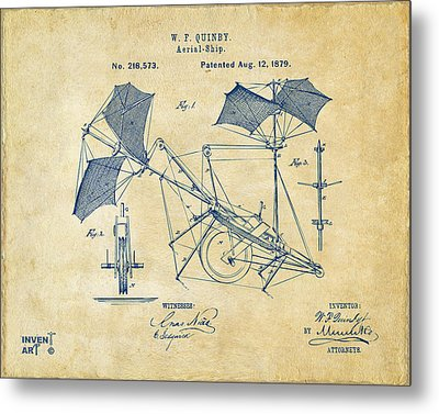 1879 Quinby Aerial Ship Patent - Vintage Metal Print by Nikki Marie Smith