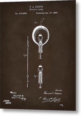 1880 Edison Electric Lamp Patent Artwork Espresso Metal Print