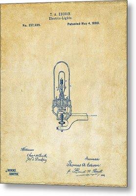 1880 Edison Electric Lights Patent Artwork - Vintage Metal Print by Nikki Marie Smith