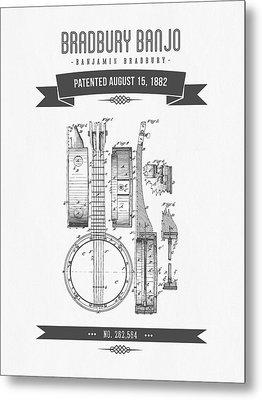 1882 Bradburry Banjo Patent Drawing Metal Print by Aged Pixel