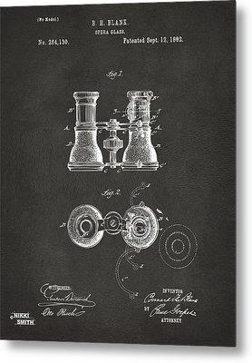 1882 Opera Glass Patent Artwork - Gray Metal Print by Nikki Marie Smith