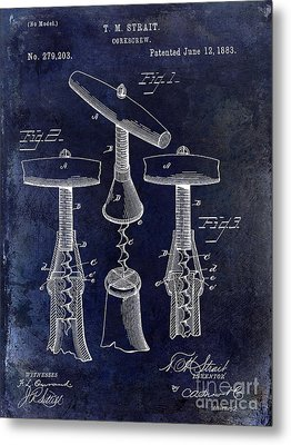 1883 Corkscrew Patent Drawing Metal Print by Jon Neidert