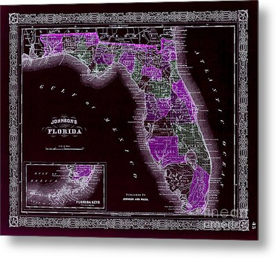 1883 Florida Map Black Metal Print by Jon Neidert