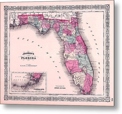 1883 Florida Map  Metal Print by Jon Neidert