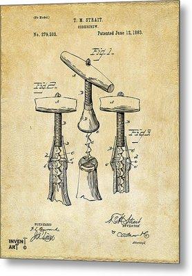 1883 Wine Corckscrew Patent Art - Vintage Black Metal Print